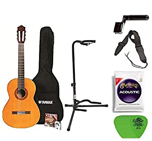 Yamaha C40 Full Size Nylon String Classical Guitar with Gig Bag Digital Tuner Guitar Stand, Yamaha Strings, String Winder, Strap and Picks
