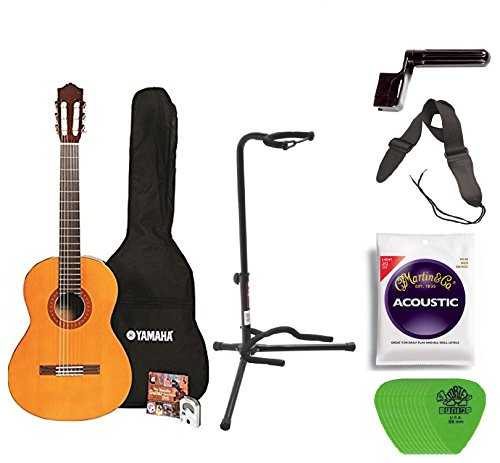 Yamaha C40 Full Size Nylon String Classical Guitar with Gig Bag Digital Tuner Guitar Stand, Yamaha Strings, String Winder, Strap and Picks - Yamaha Classical Stand