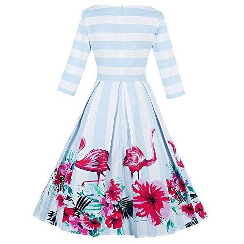 ZAFUL Mujer Vestido Vintage Años 50s Audrey Vestido de Fiesta Falda Plisada Impresión Flamenco Floral Azul S a 4XL Azul 2