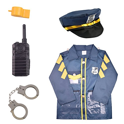 Costume Role Playset (IAMGlobal Police Officer Costume Set, Boys Girls Police Costume With Role Play Kit, Policeman Role Play Dress up Set Cosplay Set For Christmas, Halloween, Party Favors For Fun (Ages 3-6))