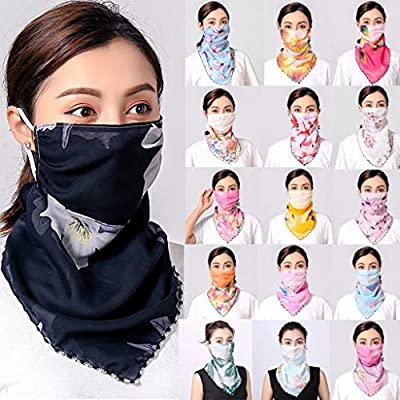 Alueeu Multifunctional Scarf Outdoor Headwear Bandana UV Women Sun Chiffon Dustproof Neck Scarf Neck Gaiter Bandana: Office Products