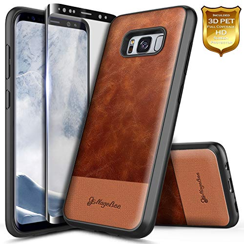 Galaxy S8 Case with Full Coverage Screen Protector 3D PET, NageBee Premium [Cowhide Leather] Snap-On Heavy Duty Shockproof Dual Layer Hybrid Defender Rugged Durable Case for Samsung Galaxy S8 -Brown