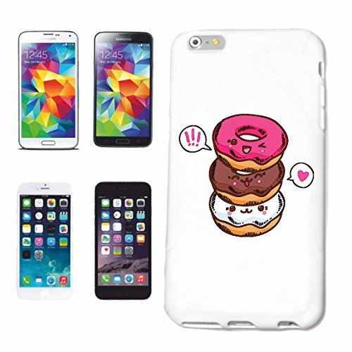 "cas de téléphone iPhone 6S ""TROIS FUNNY DONUTS AVEC SUCRE CAST CALORIE DIET MINCEUR BONBONS CAKE CAKE FRAISE VANILLE CHOCOLAT"" Hard Case Cover Téléphone Covers Smart Cover pour Apple iPhone en blanc"