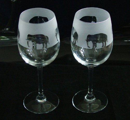 Elephant gift wine glasses Glass in the forest