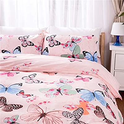 WINLIFE 3-Pieces Duvet Cover Set for Toddler Animals Pattern Pink Butterflies Bedding Comforter Cover for Girls/Teens Bedding Sets with Hidden Zipper (Butterfly, Twin): Home & Kitchen