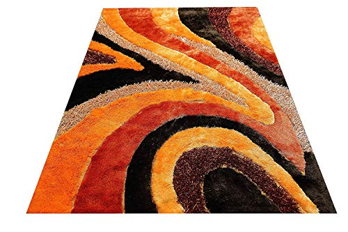 Cheap 8'x10' Orange Burgundy Beige Neutral Rust 3D Shag Shaggy Area Rug Carpet Striped Woven Braided Hand Knotted Feizy Accent Fluffy Fuzzy Modern Contemporary Medium Pile Shimmer – Signature New 70 Orange