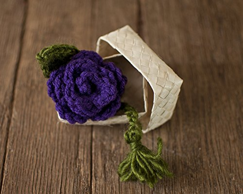 Plum Purple Rose Crochet Bookmark with Lauhala Gift - Purple Flower Bookmark