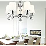 Modern Lights Chandelier (White Glass Shade, Two-Tier Crystal Style Glass Ball, Chrome Finish) For Living Room Dining Room Hallway Bedroom Bathroom (5-Lights Chandelier)