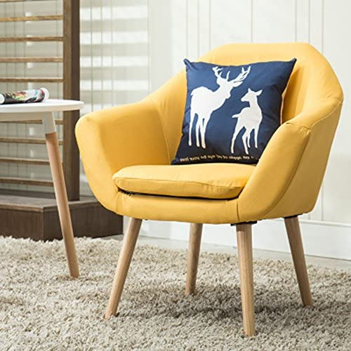 Magshion Set of 2 Upholstered Fabric Club Chairs W/ 2 Free Pillows Yellow