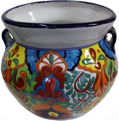 Fine Crafts Imports Medium Size Rainbow Talavera Ceramic Pot