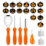 Pumpkin Carving Kit,5 Piece Halloween Pumpkin Carving Tools With 15 Carving Stencils DIY Halloween Jack-O-Lantern and 2 Colorful Candles For Halloween Pumpkin Party Decorations