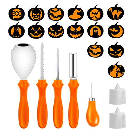 (Pumpkin Carving Kit,5 Piece Halloween Pumpkin Carving Tools With 15 Carving Stencils DIY Halloween Jack-O-Lantern and 2 Colorful Candles For Halloween Pumpkin Party)