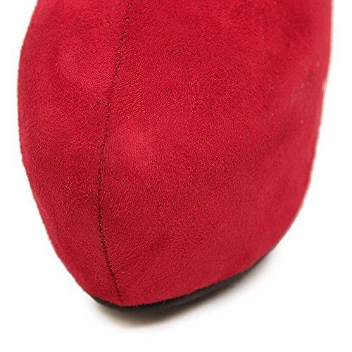 AllhqFashion Mujeres Cremallera Puntera Redonda Cerrada Tacón Luis XV Sólido Botas con Lazos Rojo