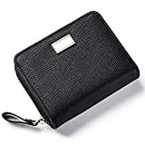 Cyanb Small Card Holder Mini Soft Leather Bifold Wallets case Coin Purse for women Girls Black