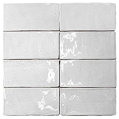 Splashback Tile CATALINA3X6WHIT Not Applicable Catalina White 3 In. x 6 In. x 8 Mm Ceramic Floor & Wall Subway Tile