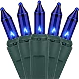 Holiday Essentials 100 Ultra-Brite Blue Lights with Green Wire - Indoor / Outdoor Use - UL Listed
