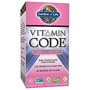 Garden of Life Vegetarian Multivitamin Supplement for Women - Vitamin Code 50 & Wiser Women's Raw Whole Food Vitamin with Probiotics