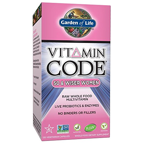 Garden of Life Vegetarian Multivitamin Supplement for Women Vitamin Code 50 & Wiser Women's Raw Whole Food Vitamin with Probiotics