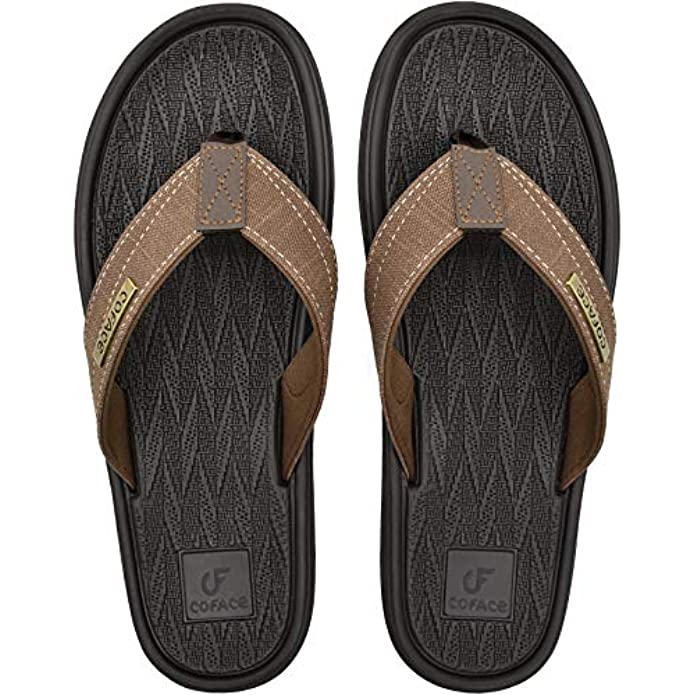 COFACE Mens Flip Flops With Yoga Foam Comfortable Soft Thong Sandals For Outdoor Summer Fashion Beach