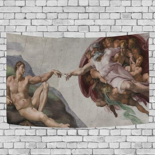 DJROW The Creation of Adam Decor Tapestry Wall Hanging for Bedroom Living Room Dorm 60x40(in)