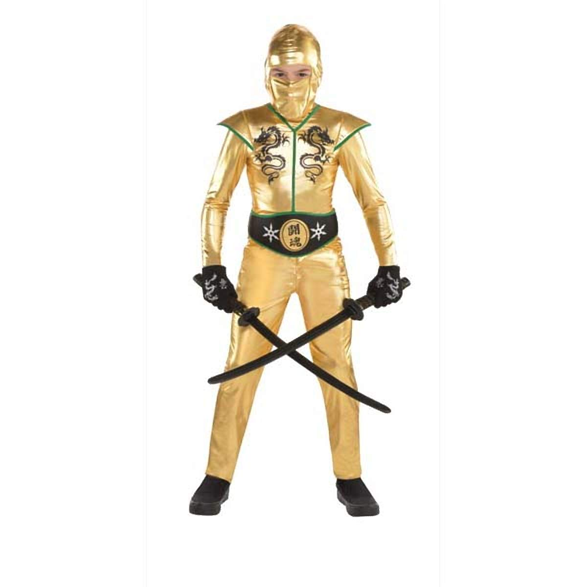 Amazon.com: Boys Gold Fighter Ninja Costume - Medium (8-10 ...