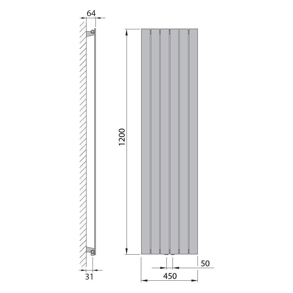 Design Paneelheizk/örper Heizk/örper Badheizk/örper 180 x 60 mit Mittelanschluss 1089 Watt nach EN442