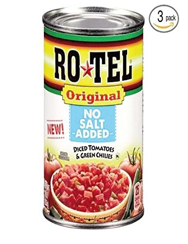 Ro-Tel Original NO SALT ADDED Diced tomatoes&Green Chilies 10z ( 3 PACK)