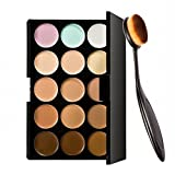 Pro 15 Colors Face Contour Cream Makeup Concealer Palette + Foundation Powder Brush
