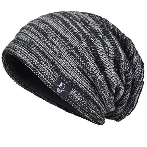 VECRY Men's Cool Cotton Beanie Slouch Skull Cap Long Baggy Hip-hop Winter Summer Hat (Cotton Long Beanie)