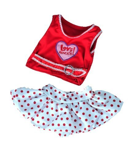 Love Rocks Top with Polka Dot Skirt Fits Most 8-10 Webkinz, Shining Star and 8-10 Make Your Own Stuffed Animals and Build-A-Bear by Stuffems Toy Shop -  Teddy Mountain