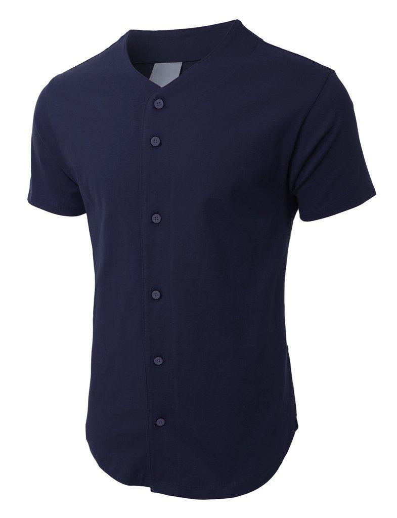 メンズ ベースボール ボタンタウン ジャージ ヒップスター ヒップホップ Tシャツ 1UPA01 B06ZXS6V7R L|ネイビー ネイビー L