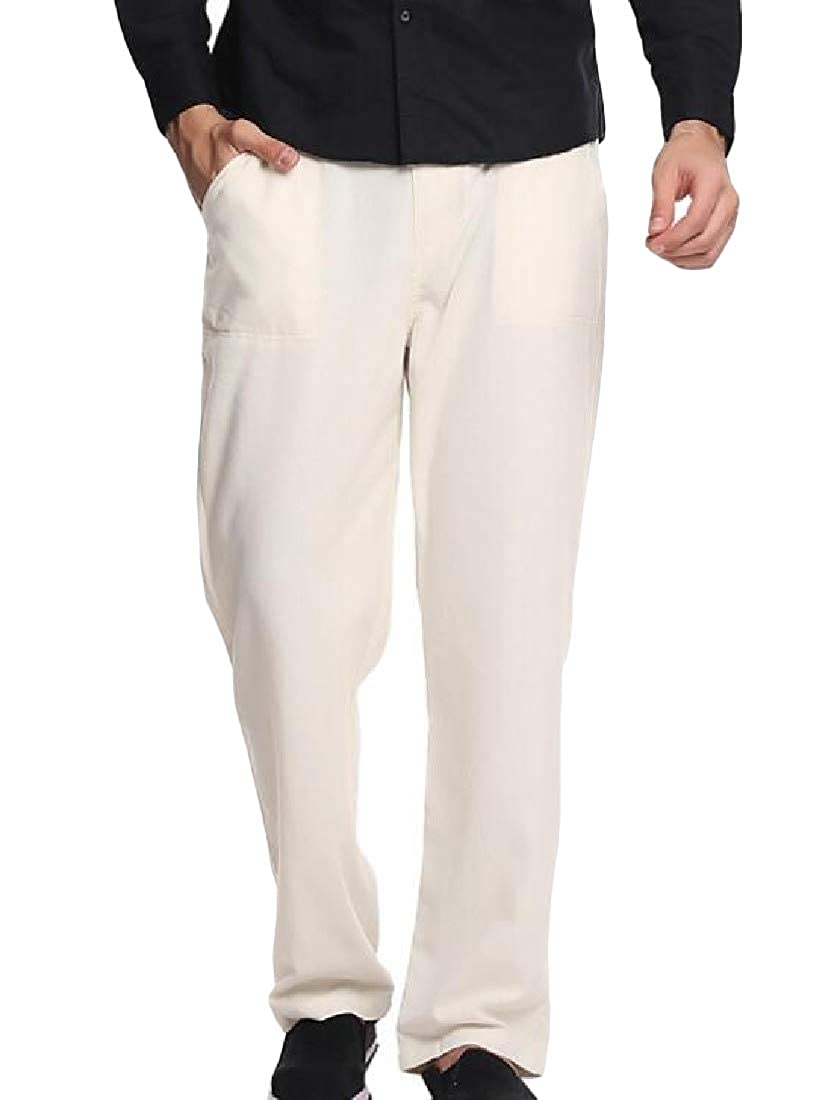 Cromoncent Mens Comfortable Casual Solid Drawstring Plus Size Straight Leg Pants