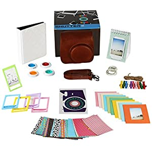 Fujifilm Instax Mini 9 or Mini 8 Instant Camera Accessories Bundle. 11 Piece Gift Box Fuji Accessories Kit Includes: Instax Mini Case, 2 Photo Albums, Filters, Selfie Lens, 60 Stickers & More