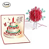 3D Pop up Greeting Card - Happy Birthday Rose Flower Blank Thank You Get Well Cards for Home Office Girl Friends Wife Mom Christmas Gift (2 Style)