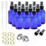 Pack of 12, 2 oz Cobalt Blue Glass Spray Bottles with Black Fine Mist Sprayers by Mavogel,Including 2 Extra Black Fine Mist Sprayers, 2 Stainless Steel Mini Funnel, 2 Transfer Pipettes, 12 Labels