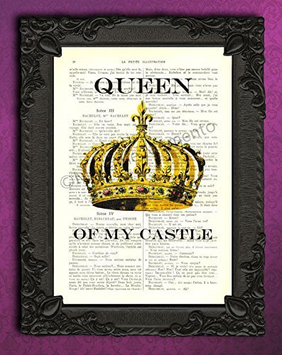 (Queen of my castle art print, golden royal crown wall art decorations, dictionary poster on original book page)