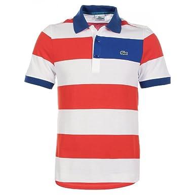 7d03c9c3 Lacoste Polo Shirt - Stripe PH2207 White Orange - Size 6: Amazon.co.uk:  Clothing