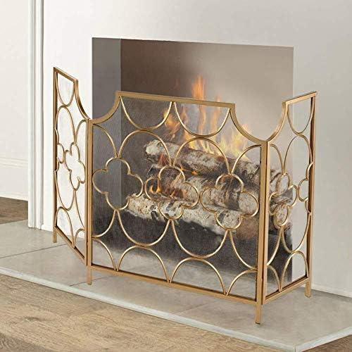 メッシュ3パネル折り畳み式、メタルメッシュ安全暖炉木材や石炭焼成用ガード、ストーブ、グリル、H76cmとエクストラワイド暖炉スクリーン