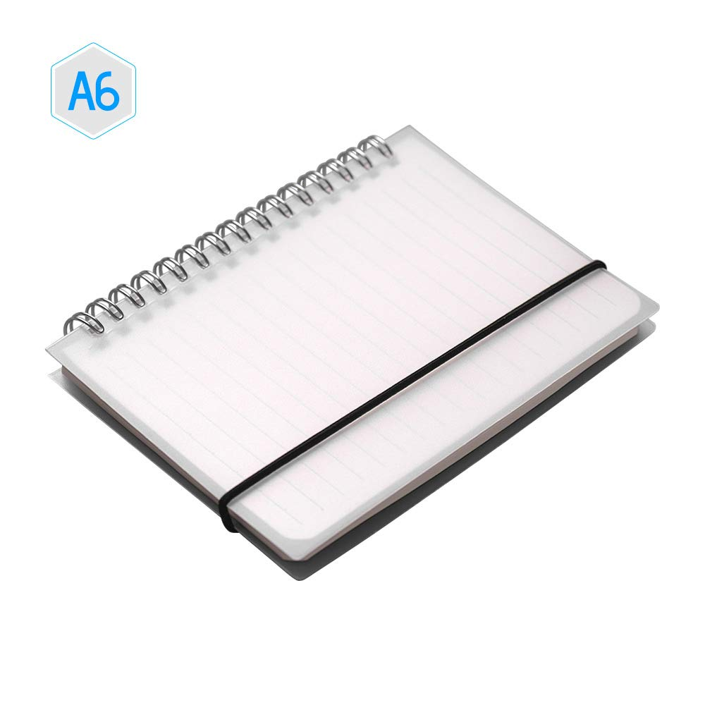 Walmeck A6 Coil Notebook Spiral Notebooks with Elastic Band Blank Pages Diary Journal Memo Office and School Supplies