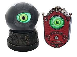 Halloween Animated Eyeball Crystal Ball Prop & Animated Eyeball Doorbell Bundle of 2 Items