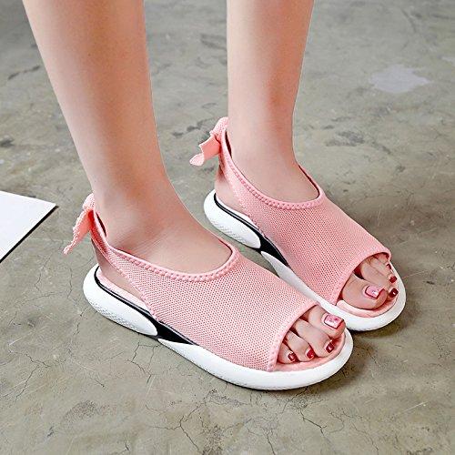 Boca y Toe Sandalias Pink Dama Zapatos Toe Fondo Verano YMFIE de de Plano Moda cómoda Simple Pescado de gwPnIq6x7