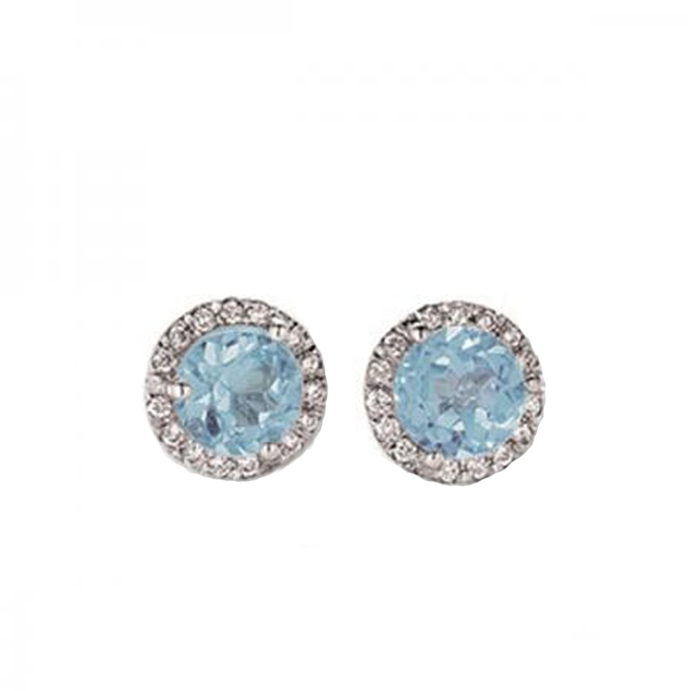 0.50 Carat (ctw) 14K White Gold Round Aquamarine & White Diamond Ladies Halo Style Stud Earrings 1/2 CT