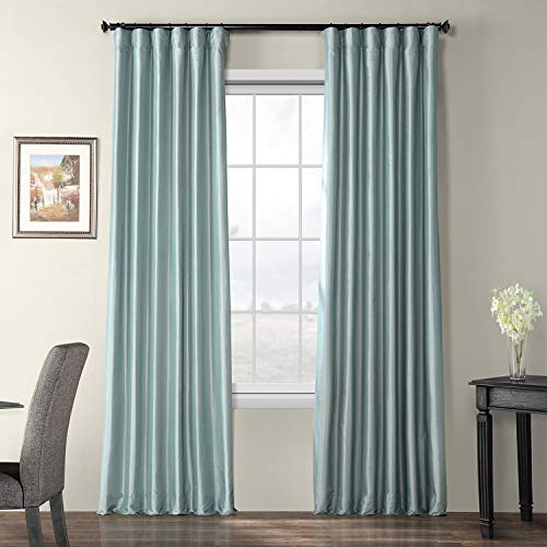 Compare Price Light Blue Faux Silk Curtains On