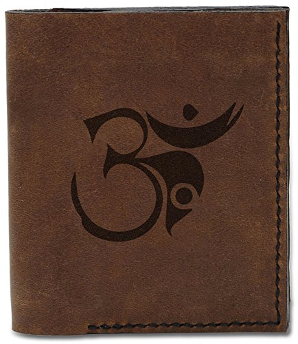 Om Handmade Wallet MHLT Men's Leather 5 04 Signs Buddhish Signs Om b Buddhish Natural Genuine dx00rtw