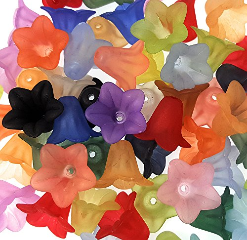 30 Chunky Multi-Color Acrylic Lucite Bell Flower Beads- Assorted 16mm - Multi Color Lucite Bead