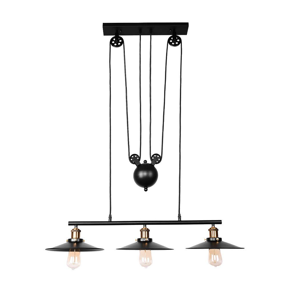 OYI Pulley Kitchen Island Light, 3 Lights Adjustable Linear Pendant Light Industrial Ceiling Hanging Light Lamp (Matte Black)