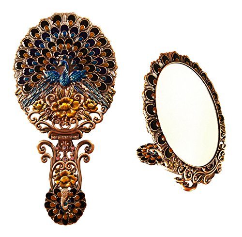- Ivenf Extra Large Size Vintage Oval Make-Up Hand/Table Mirror, Dress Table Decoration, Spreading Tail Peacock, Rose Copper