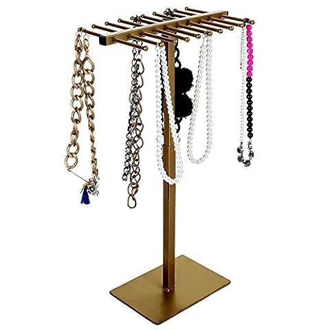 MyGift Standing Jewelry Organizer Rack, Necklace & Bracelet Display Tree, Bronze - Bronze Finish Adjustable Spring