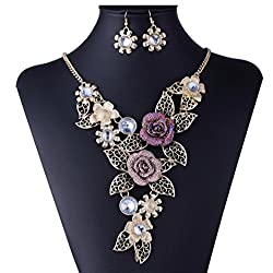 Flower Rose Gold Necklace Earrings Jewelry Set