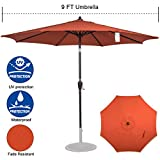 Sundale Outdoor 9ft FadeSafe Olefin Fabric Patio Market Table Umbrella with Crank and Auto Tilt for Garden, Deck, Backyard, Pool, Solution Dyed and UV Resistant (Brick Red)